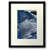 Reflected Sky - Skyscraper Geometry With Clouds - Left Framed Print