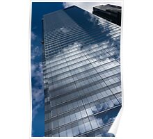 Reflected Sky - Skyscraper Geometry With Clouds - Left Poster