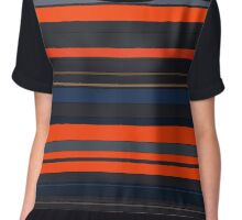Blue and Orange Stripes Chiffon Top