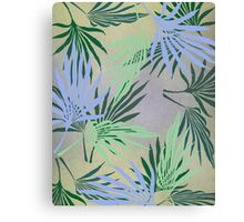 Pale Leaf Abstract Blue Canvas Print