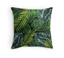 Jungle Tangle Green On Black Throw Pillow