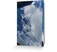 Glossy Glass Reflections - Skyscraper Geometry With Clouds - Right Greeting Card