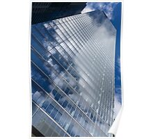 Glossy Glass Reflections - Skyscraper Geometry With Clouds - Right Poster