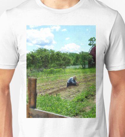 Woman Planting Garden Near Barn Unisex T-Shirt