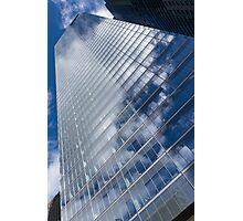 Glossy Glass Reflections - Skyscraper Geometry With Clouds - Left Photographic Print