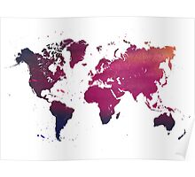 Watercolor map of the world  Poster