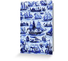 VINTAGE SAILING VESSELS AND SHIPS,Navy Blue Nautical Collection Greeting Card
