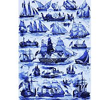 VINTAGE SAILING VESSELS AND SHIPS,Navy Blue Nautical Collection Photographic Print