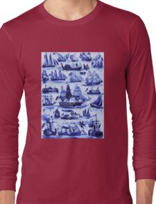 VINTAGE SAILING VESSELS AND SHIPS,Navy Blue Nautical Collection Long Sleeve T-Shirt