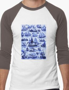 VINTAGE SAILING VESSELS AND SHIPS,Navy Blue Nautical Collection Men's Baseball ¾ T-Shirt