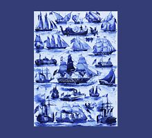 VINTAGE SAILING VESSELS AND SHIPS,Navy Blue Nautical Collection Unisex T-Shirt