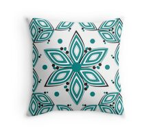 Flower and circles in blue Throw Pillow
