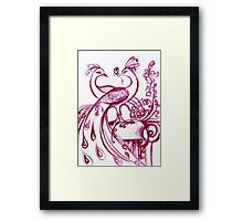 PEACOCKS IN LOVE - Pink Purple White Hues Framed Print