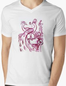 PEACOCKS IN LOVE - Pink Purple White Hues Mens V-Neck T-Shirt