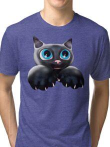 Cute Kitty Cartoon with Blue Eyes - 3D Tri-blend T-Shirt