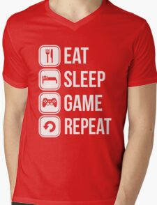 eat sleep game repeat  Mens V-Neck T-Shirt