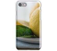 lemons with slices and green leaves isolated  iPhone Case/Skin