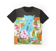 Blue Cat Graphic T-Shirt