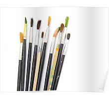 set of brushes for drawing  Poster