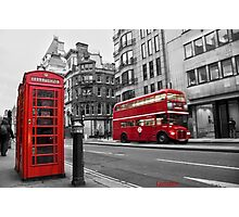 London bus red telephone Photographic Print