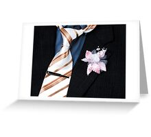 wedding groom suit and tie and a flower closeup Greeting Card