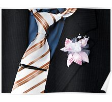 wedding groom suit and tie and a flower closeup Poster
