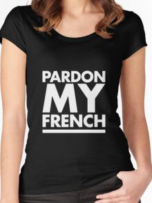 Pardon My French Black Women's Fitted Scoop T-Shirt