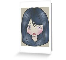 Dollhouse Girl Blue Greeting Card