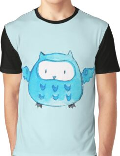 Blue Watercolor Owl Graphic T-Shirt