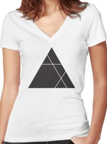 Geometric Triangle 1 Women's Fitted V-Neck T-Shirt