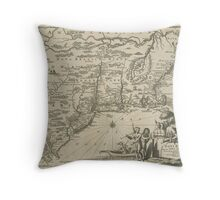1600s Dutch Map of North America Throw Pillow