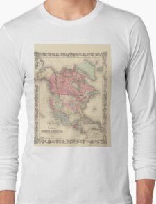 1861 North America Map Long Sleeve T-Shirt