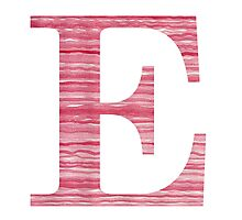 Letter E Red Watercolor Stripes Initial Monogram  Photographic Print