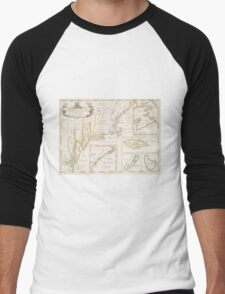 Historic Map of North america Men's Baseball ¾ T-Shirt