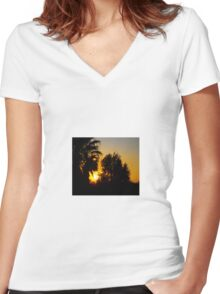 Sunset 2, today 2.9.11 about 5-6 pm Women's Fitted V-Neck T-Shirt