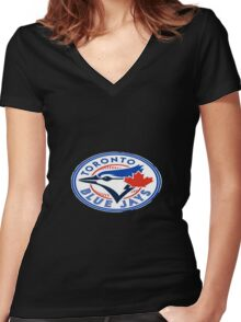 blue jays logo Women's Fitted V-Neck T-Shirt