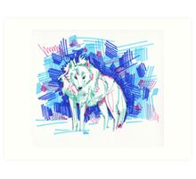 Arctic wolf drawing - 2011 Art Print