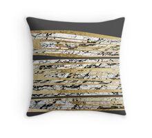 Modern Black White Marble with Faux Gold Stripes Throw Pillow