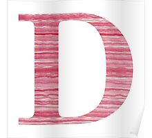 Letter D Red Watercolor Stripes Initial Monogram Poster