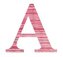 Letter A Red Watercolor Stripes Initial Monogram Photographic Print