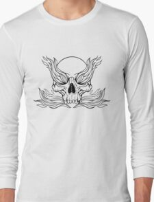 black and white illustration with skull and flames of fire Long Sleeve T-Shirt
