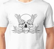 black and white illustration with skull and flames of fire Unisex T-Shirt