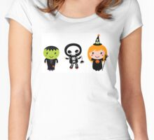 Happy Kids in Halloween costumes Women's Fitted Scoop T-Shirt