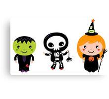 Happy Kids in Halloween costumes Canvas Print