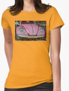 Pink volkswagen beetle Womens Fitted T-Shirt