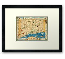 Historical map of the state of Connecticut 1930s Framed Print