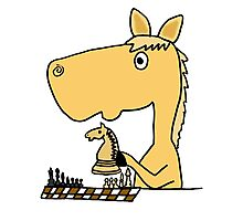 Coo Funny Horse Playing Chess Artwork Photographic Print