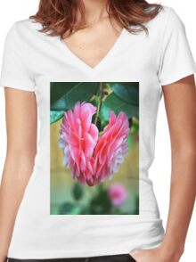 Back to Back Camellias Women's Fitted V-Neck T-Shirt
