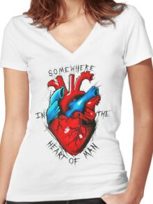 Heart Of Man Women's Fitted V-Neck T-Shirt