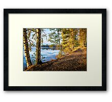 From blue to yellow (morning light at the lake) Framed Print